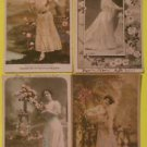 Lot of 4 Vintage FRENCH 1905 RPPC Real Photo Postcards Sexy Women Long Gowns-f