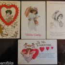 Pretty Gibson Girl with Umbrella Hearts Lot of 4 Antique VTG Valentine Postcards