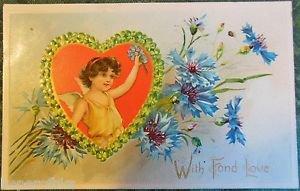 YOUNG WINGED ANGEL CARNATIONS TUCKS-ANTIQUE VINTAGE EMBOSSED VALENTINE POSTCARD