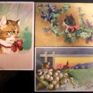 Cute Cats Kitty Kitten n Violets/Gold Gilt-Antique Early 1900s Postcard Lot of 3
