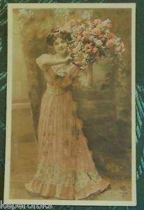 PRETTY LADY in PINK-Hand Color-ANTIQUE VINTAGE ORIGINAL RPPC PHOTO POSTCARD
