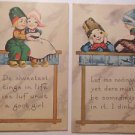 2 Antique Vintage Bergman Postcards-Cute Dutch Children Luf Love Sayings Unused