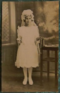 YOUNG GIRL'S COMMUNION ROSARY in HAND-J. HRISH-ANTIQUE SEPIA RPPC PHOTO POSTCARD