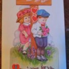CUTE YOUNG CHILDREN LOVERS LANE MEET ME-ANTIQUE VINTAGE VALENTINE POSTCARD