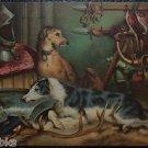 Deer Hounds Armor Horn Falcons  Artist Signed Landseer Antique Vintage Postcard