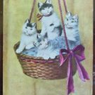 Cats Kittens in Hanging Basket-Artist Signed A. Stone - Vintage Animal POSTCARD