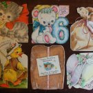 10 Vintage HALLMARK Die Cut Greeting Cards-Fuzzy Childrens Birthday-1st Birthday