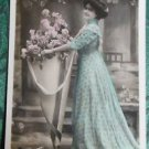PRETTY LADY POSED FLORAL HOLDER-HAND TINTED-ANTIQUE FRENCH RPPC PHOTO POSTCARD