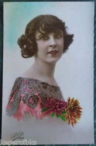 FRENCH FANTASY LADY-SIDE BUNS-HAND TINTED-ANTIQUE VINTAGE RPPC PHOTO POSTCARD z