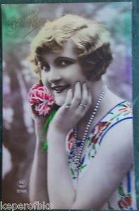 FRENCH FANTASY LADY-BONNE FETE-HAND TINT-ANTIQUE VINTAGE RPPC PHOTO POSTCARD 15