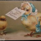 ANTHROPOMORPHIC DRESSED BABY CHICK n BONNET & PURSE-VINTAGE EASTER POSTCARD