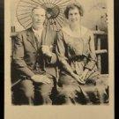 Victorian Couple Asian Umbrella-Vintage AZO 1910-1930 RPPC Real Photo Postcard