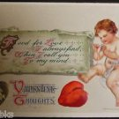 FEATHER WINGED ANGEL MENDING HEART ANTIQUE VINTAGE WINSCH VALENTINE POSTCARD