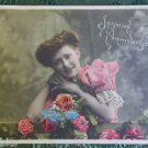 FRENCH COUNTRY GIRL ANNIVERSARY ANTIQUE VINTAGE HAND COLOR RPPC PHOTO POSTCARD x