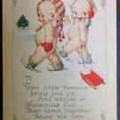 Original c. Rose O'Neill Kewpies Postcard-Gibson Art Co. - 2 Kewpies Christmas