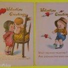 Lot of 2 Antique Vintage Valentine Postcards - Young Boy Huge Hat Winged Hearts