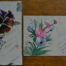 PANSY, DAISY - 2 ANTIQUE VINTAGE PAINTERLY HAND PAINTED HANDMADE POSTCARDS - #6