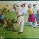 ANTHROPOMORPHIC DRESSED CATS POSTCARD-MAINZER HARTUNG-GOLF SWING #4883 Belgium
