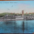 HUDSON RIVER DAY LINE STEAMER-ROBERT FULTON-PRE 30 ANTIQUE HAND COLORED POSTCARD