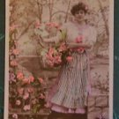 FRENCH COUNTRY GIRL-Hand Color-ANTIQUE VINTAGE ORIGINAL RPPC PHOTO POSTCARD