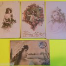 4 Antique Vintage Hand Tinted FRENCH Real Photo POSTCARDS-Pretty Young Girls-7