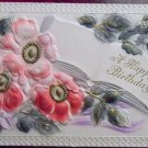 EXTREMELY EMBOSSED BIRTHDAY BOOK with WILD ROSES-1914 ANTIQUE VINTAGE POSTCARD