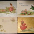 Cute Children Watering Can-Hat Boxes-Eggs-Antique 1914 EASTER Postcard Lot of 4