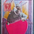 DUTCH CHILDREN VINTAGE EMBOSSED ATTACHED SILK HEART VALENTINE'S DAY POSTCARD