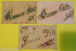 """BONNE FETE """"Happy Holiday"""" in Script-3 VINTAGE HAND PAINTED HANDMADE POSTCARDS"""