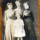 "VICTORIAN DRESS COUSINS HANNA-JANNIE-ANNA-ANTIQUE RPPC PHOTO POSTCARD ""AS IS"""