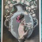 VASE LILY of VALLEY PRETTY LADY FANTASY-HAND TINT-ANTIQUE RPPC PHOTO POSTCARD