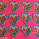 "Vintage Die Cut 12 SWISS Cookie Picture Glanzbilder Oblaten-2"" Tall Hearts/Roses"