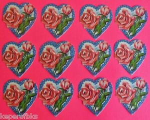 """Vintage Die Cut 12 SWISS Cookie Picture Glanzbilder Oblaten-2"""" Tall Hearts/Roses"""