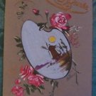 WINDMILL ARTIST PALETTE ROSES - VINTAGE ANTIQUE HANDMADE HAND PAINTED POSTCARD