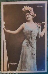 J. SAULIER-FRENCH VARIETES SINGER?-ANTIQUE VINTAGE 1905 RPPC POSTCARD HAND TINT