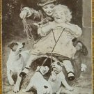 """BELLVUE""-VICTORIAN CHILDREN & DOGS-ANTIQUE USWN WIDE NAMED SWAP PLAYING CARD"