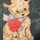 Original Hallmark Die Cut Valentine Greeting Card-Yellow Calico Cat Kitty 10cent