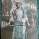 PRETTY LADY LONG BRAIDS HAIR COSTUME-HAND TINTED-ANTIQUE RPPC PHOTO POSTCARD