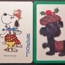 Snoopy Like Joker-Christmas BL Scottie Dog-Original VTG Joker Swap Playing Card