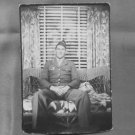 "1940's Military Man in Uniform on Wicker Couch-Vintage Photograph 4 5/16"" x 3"""