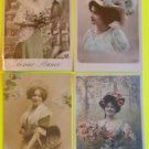 Lot of 4 Vintage FRENCH RPPC Real Photo Postcards Young Lady's Lg. Hats Flower-e