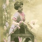 PRETTY FRENCH LADY BIRDHOUSE-Hand Tint-ANTIQUE VTG ORIGINAL RPPC PHOTO POSTCARD