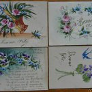 BLUE BIRD-PANSY-VIOLET-ROSE BASKET-LOT 4 VINTAGE HAND PAINTED HANDMADE POSTCARDS