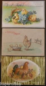 Chickens & Chicks-Antique Vintage 1906-1910 EASTER Postcard Lot of 3-1 Undivided