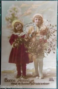 YOUNG CHILDREN HORSE SHOE COLORED ANTIQUE FRENCH REAL PHOTO NEW YEAR POSTCARD