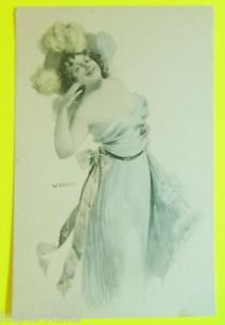 Fashion Glamour Girl Feather Hat Gown-Ill. A/S W. Braum-Vintage Tinted Postcard