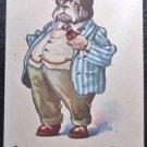 Vintage 1913 Anthropomorphic Dressed Bull Dog Postcard Artist Signed Wall 6205