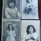 SWEET YOUNG GIRLS - Lot of 4 ANTIQUE VINTAGE FRENCH RPPC REAL PHOTO POSTCARDS 4