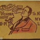 Wonder Where UR Tonight Man Pipe Smoke Turns into Lady-ANTIQUE LEATHER POSTCARD