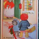 ANTHROPOMORPHIC DRESSED CATS in SNOW-VINTAGE WHITNEY MADE CHRISTMAS POSTCARD